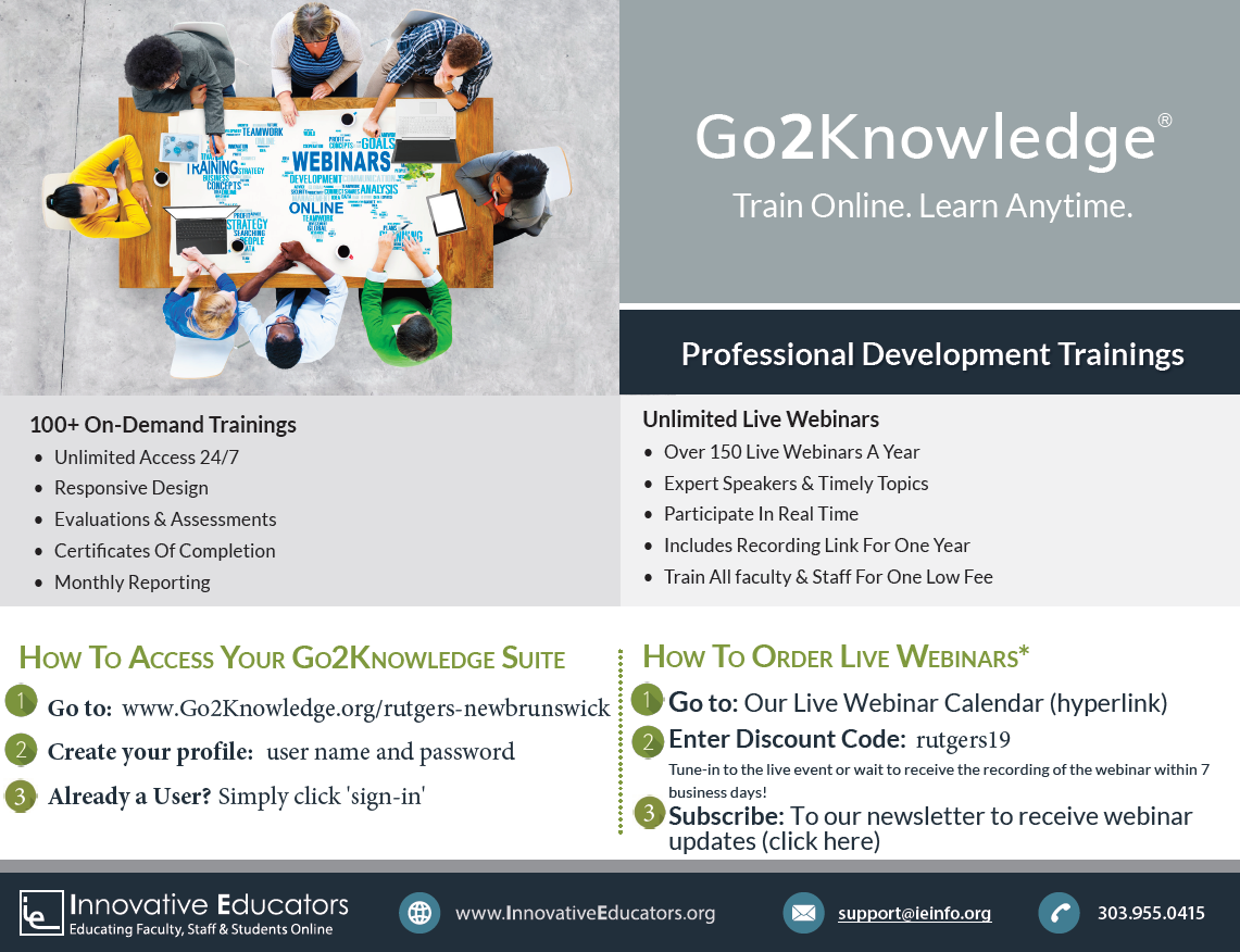 Go2Knowledge Flyer with instructions for access.